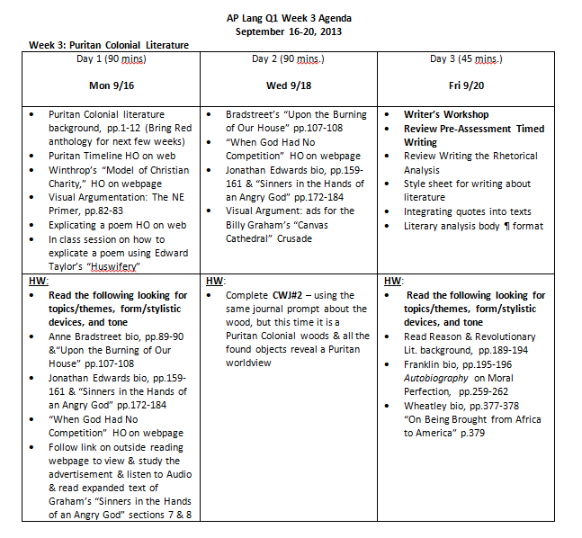 AP Lang Q1 Week 3 Agenda - Puritan - BOSNET: where words rule