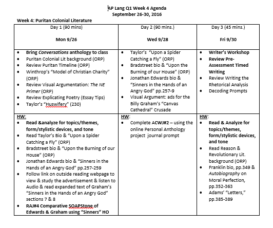 AP Lang Q1 Week 4 - The Frontier: Puritan Literature